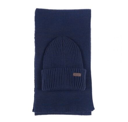 Barbour Crimdon Beanie and Scarf Gift Set Navy