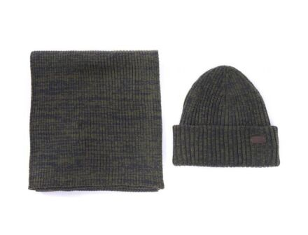 Barbour Crimdon Beanie and Scarf Gift Set Olive Twist