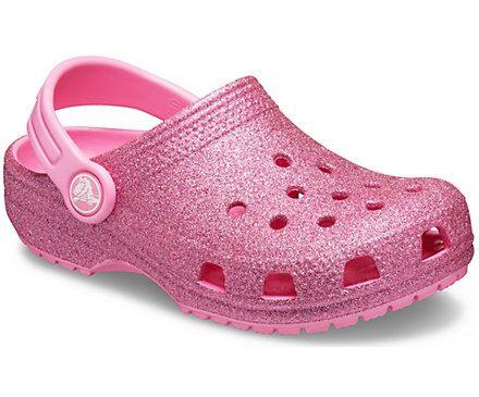 Crocs Kids Classic Glitter Clogs Pink
