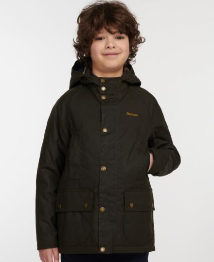 Barbour Boys Hooded Beaufort Wax Olive