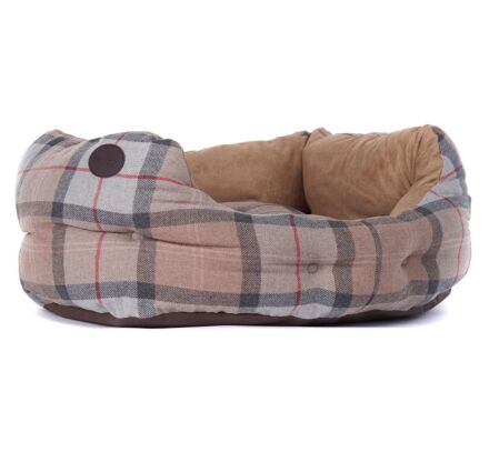"Barbour 24"" Luxury Dog Bed Taupe/Pink Tartan"