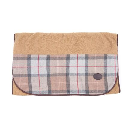 Barbour Wool Touch Blanket Taupe/Pink Tartan