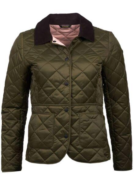 Barbour Deveron Quilted Jacket Olive/Pale Pink