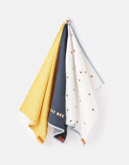 Joules Tea Towel Set Pack Of 3 Bee Stripe