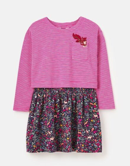 Joules Rose Mock Layer Dress Woodland Ditsy