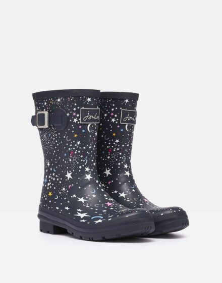 Joules Molly Mid Height Printed Wellies Navy Stars