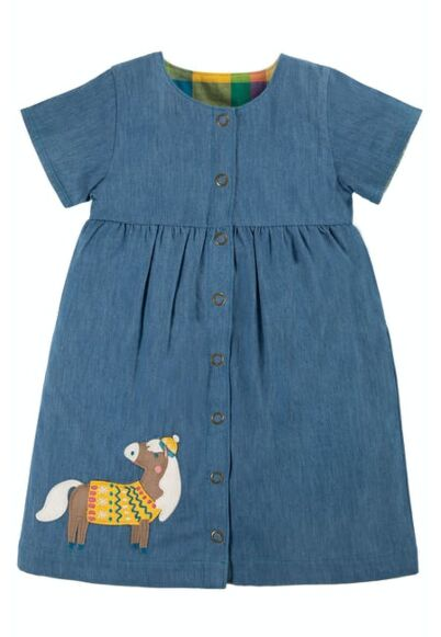 Frugi Romilly Reversible Dress Chambray/Horse