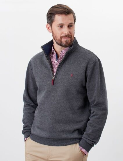 Joules Drayton Clean Quarter Zip Sweater Grey