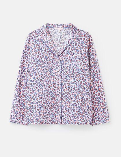 Joules Dream Woven Pyjama Shirt Lilac Leopard