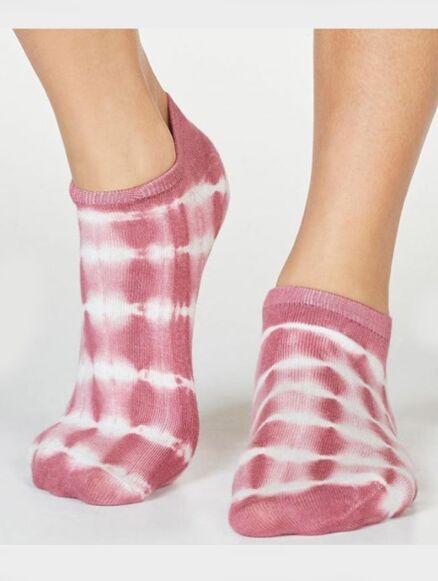 Thought Jules Bamboo Organic Cotton Tie Dye Trainer Socks Dark Rose Pink