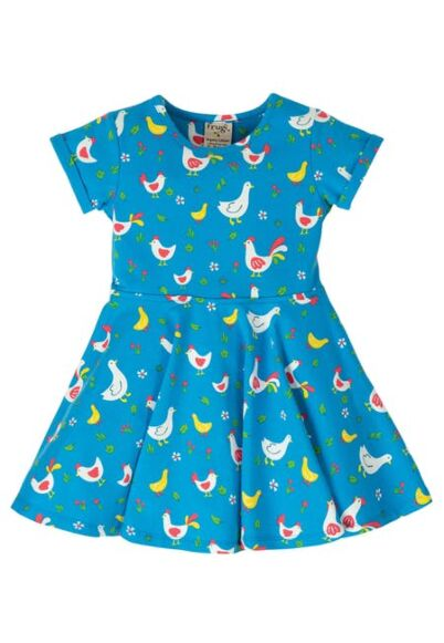Frugi Spring Skater Dress Bantam Chickens
