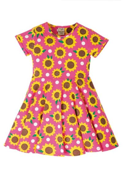 Frugi Spring Skater Dress Flamingo Sunflowers