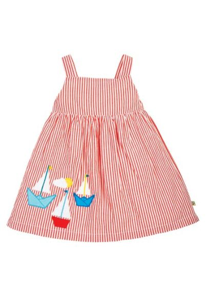 Frugi Alma Summer Dress Koi Red Seersucker/Boat