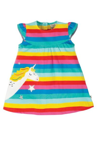 Frugi Little Lola Dress Pacific Flamingo Multi Stripe/Unicorn