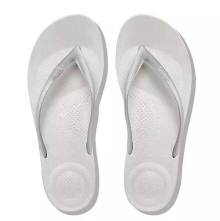 Fitflop Iqushion Ergonomic Flip Flops Silver