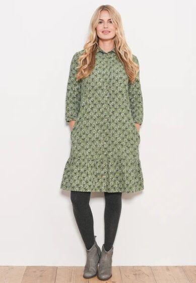 Brakeburn Eden Cord Shirt Dress Green