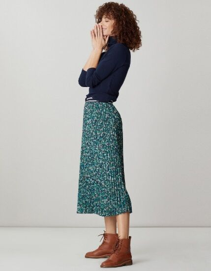 Joules Eila Pleated Skirt Navy Ditsy