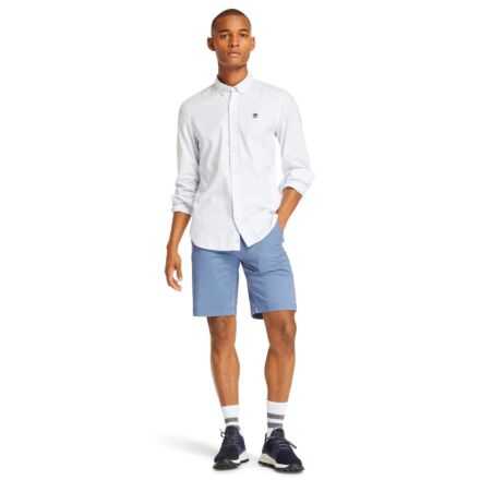 Timberland Long Sleeve Ela River Elevated Oxford Stripe Slim Shirt White
