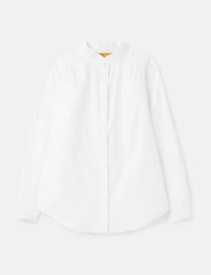 Joules Elma Pie Crust Button Through Shirt Chalk