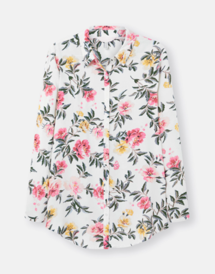 Joules Elvina Button Front Woven Shirt Cream Floral