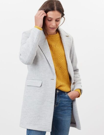 Joules Eve Wool Coat Grey Check
