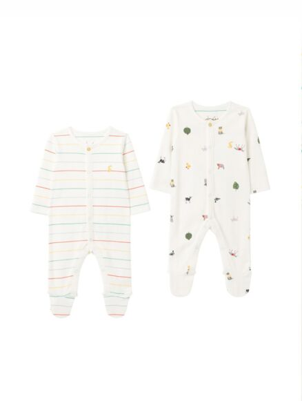 Joules The Babygrow 2 Pack White Farm Print