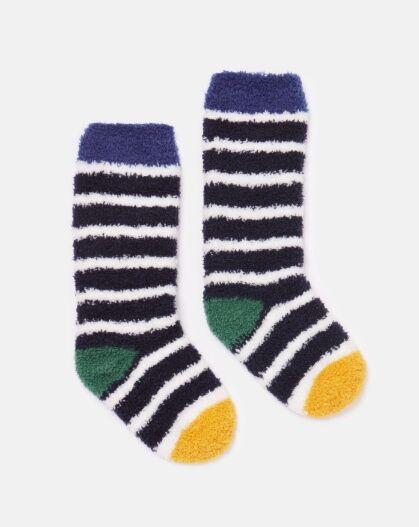 Joules JNR Fab Fluffy Socks Navy Stripe