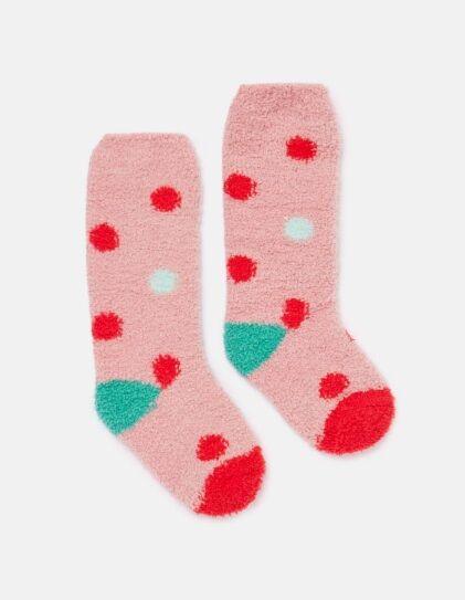 Joules JNR Fab Fluffy Socks Pink Multi Spot
