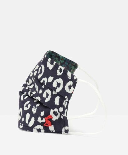 Joules Non Medical Reversible Face Covering Navy Leopard