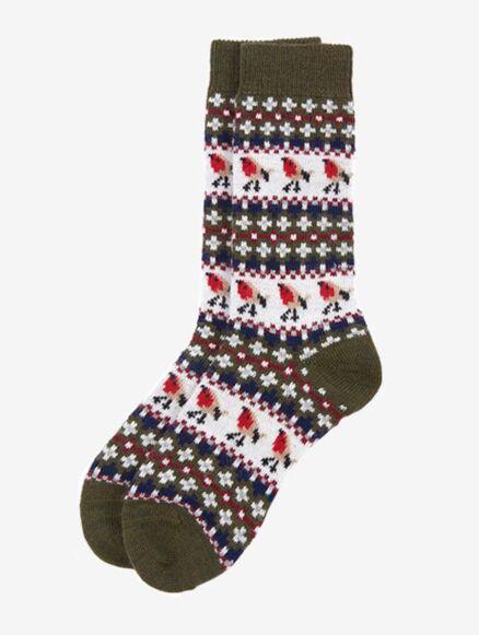 Barbour Robin Fair Isle Socks Olive