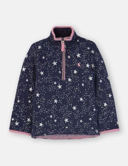 Joules Girls Fairdale Luxe Half Zip Sweatshirt Navy Star