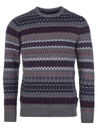 Barbour Case Fairisle Crew Jumper Mid Grey