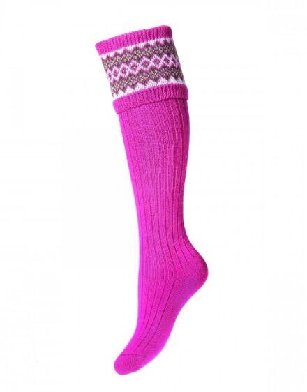 House of Cheviot Ladies Fairisle Socks Dusky Pink