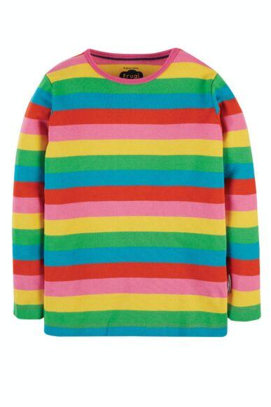 Frugi Favourite Long Sleeve Tee Foxglove Rainbow Stripe