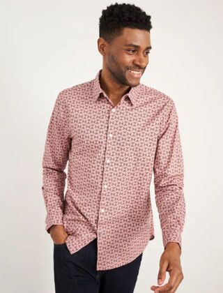 White Stuff Abstract Fern Print Shirt Light Pink