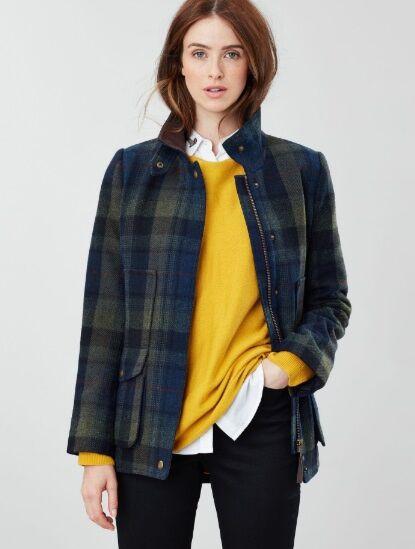 Joules Tweed Field Coat Green Blue Tweed