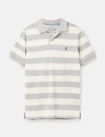 Joules Men's Filbert Striped Classic Fit Polo Grey Marl Cream Stripe