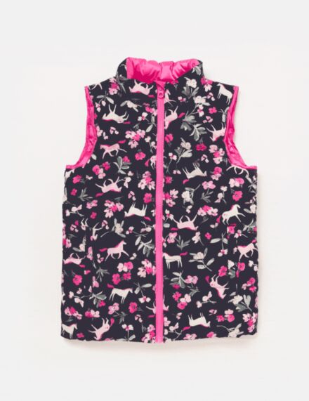 Joules Junior Flip It Gilet Navy Unicorn Floral