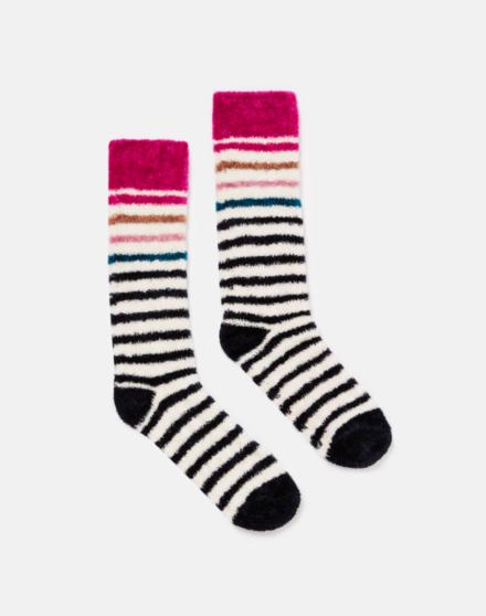 Joules Chenille Fluffy Socks Cream Multi Stripe