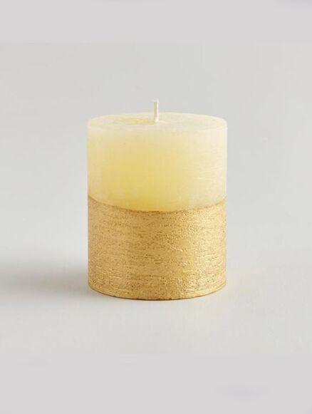 St Eval Inspiritus Gold Half-Dipped Pillar Candle