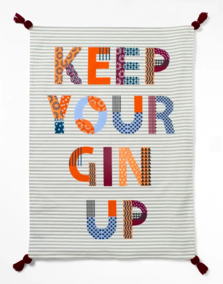 White Stuff Keep Your Gin Up Tea Towel Multi