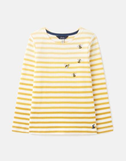 Joules Harbour Luxe Long Sleeve Jersey Top Bee Stripe