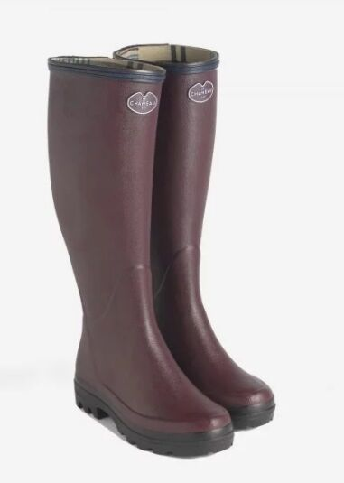 Le Chameau Women's Giverny Jersey Lined Boots Cherry
