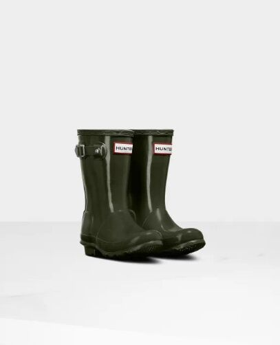 Hunter Little Kids Gloss Wellies Dark Olive