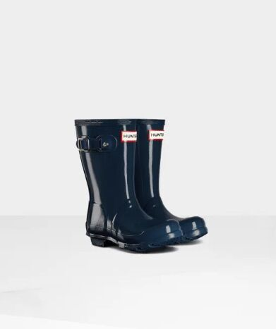 Hunter Little Kids Gloss Wellies Navy