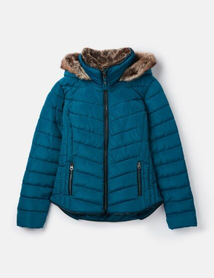Joules Gosway Chevron Padded Jacket Dark Teal
