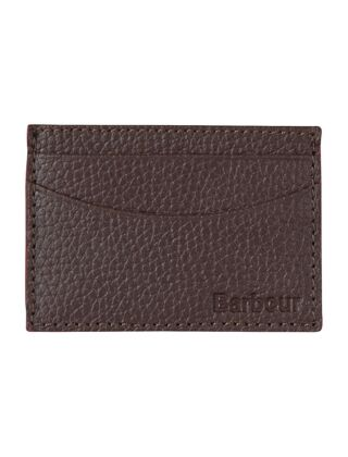 Barbour Grain Leather Card Holder Dark Brown
