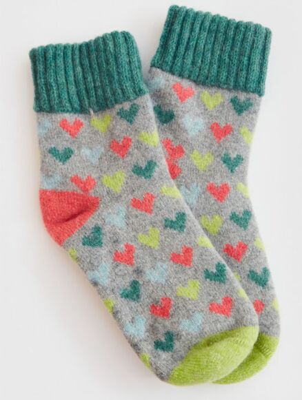 White Stuff Heart Sock Grey Multi
