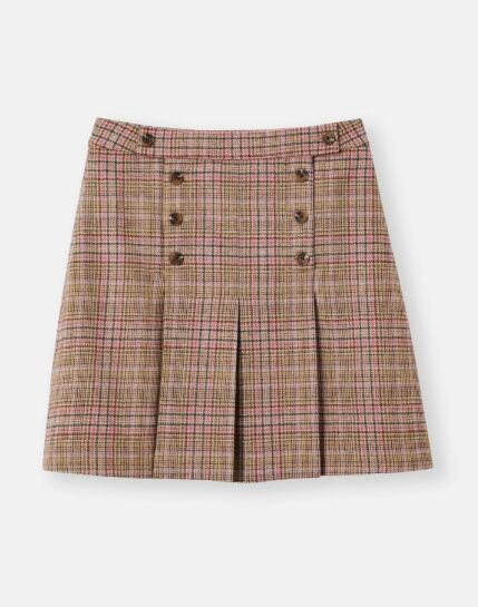 Joules Haddie Check Button Front Tweed Skirt Pink Tweed
