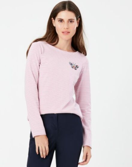 Joules Harbour Embellished Jersey Top Butterfly Embroidery Stripe